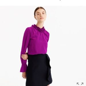 J crew ruffle silk purple blouse/top